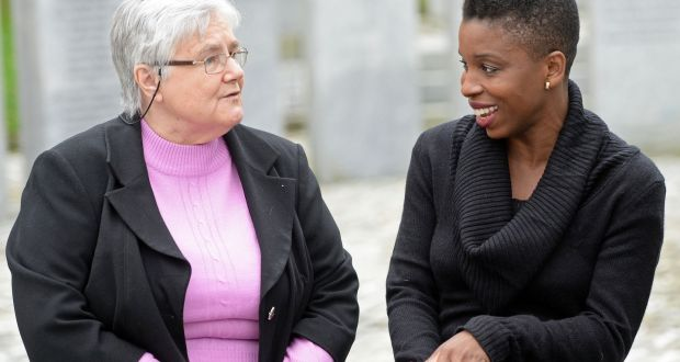 Noo Saro-Wiwa, daughter of executed Nigerian writer Ken Saro-Wiwa, with Sr Majella McCarron, at Maynooth University. Photograph: Eric Luke/The Irish Times