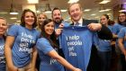 Taoiseach Enda Kenny with Indeed employees at the announcement that the company is to create 300 new jobs. Picture Jason Clarke