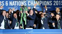 Ireland captain Paul O'Connell lifts  the Six Nations trophy at Murrayfield in March. Photograph: Billy Stickland/Inpho