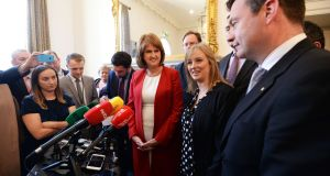 Labour Party Seanad byelection candidate Maíria Cahill (second right) has come under increased pressure to clarify her links to a dissident republican group as voting draws to a close. Photograph: Eric Luke / The Irish Times.