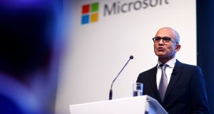 Microsoft chief executive Satya Nadella holds a speech to present the companies new cloud strategy for Germany in Berlin