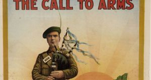 'The call to arms', 1916. Irish recruiting poster. A piper rallies the troops as an Irish wolfhound looks on. Courtesy of the National Library of Ireland.