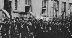 Irish Citizen Army members at Croydon House. Photograph:  Defence Forces Military Archives, Cathal Brugha barracks www.militaryarchives.ie