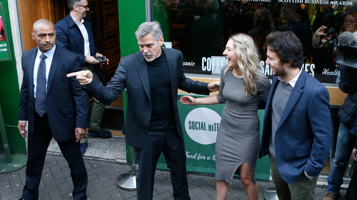 George Clooney Visits Homeless Support Cafe In Edinburgh
