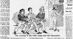 A satirical cartoon from the The Irish Worker newspaper entitled 'The Redmond-O'Brien Press Gang'. The illustration is accompanied by a poem and criticizes Irish politicians for offering support to Britain's war effort. The cartoon depicts Irish nationalist, journalist, and politician William O'Brien and leader of the Irish Parliamentary Party John Redmond  delivering an Irish 'volunteer' to Lord Kitchener at the British War Office. A caption over the door reads: 'This way to the European shambles'. Original publication: The Irish Worker, pub 29th September 1914. Photograph: Hulton Archive/Getty Images