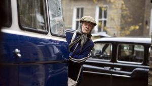 "Maggie Smith as Mary Shepherd in The Lady in the Van, ""the woman Jean Brodie might have become had the wheels come off""."