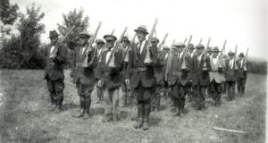 Irish Volunteers Drilling. Photograph: Defence Forces Military Archives, Cathal Brugha barracks www.militaryarchives.ie