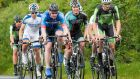 Jack Wilson (An Post Chain Reaction) leads a group of riders during the 2014 National Cycling Championships in  Westmeath. Ciaran Fallon/Inpho