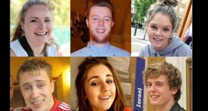 The students who were killed when the balcony collapsed at the Library Gardens Apartments, in Berkeley, California, in June: (top left to right) Ashley Donohoe, Eoghan Culligan, Olivia Burke, (bottom left to right) Nick Schuster, Eimear Walsh, and Lorcán Miller.