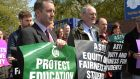 TUI president Gerry Quinn (left) seen in this file photo of a teachers' protest in May this year. Photograph: Cyril Byrne/The Irish Times