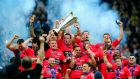 Toulon celebrate their Champions Cup Final victory over Clermont Auvergne   at Twickenham back in May. Photograph:  Stu Forster/Getty Images
