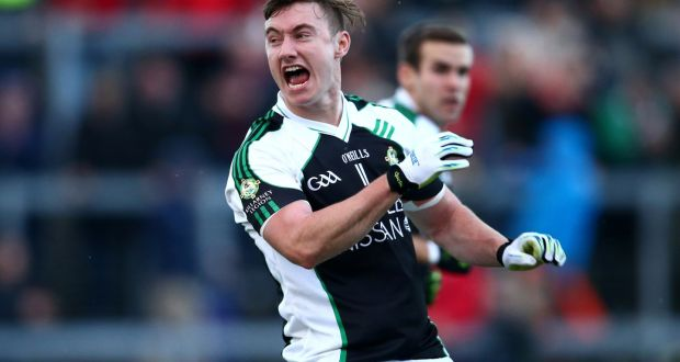 Killarney Legion's James O'Donoghue celebrates James O'Sullivan's equalising point against South Kerry