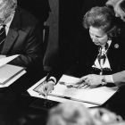 Taoiseach Dr Gatret FtizGerald and the British prime minister Margaret Thatcher at the signing of the Anglo-Irish Agreement in Hillsborough Castle, Co Down. Photograph: Matt Kavanagh