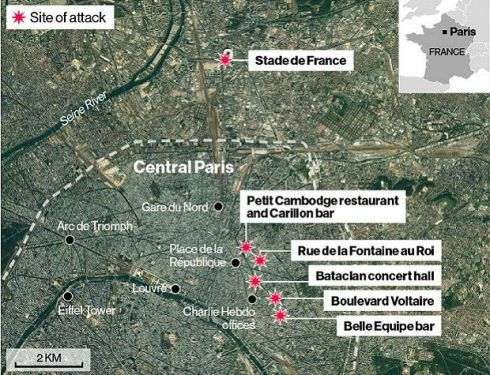 Bataclan Concert Hall Paris Map.Paris Attacks Death Toll Rises