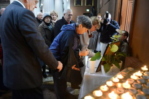 Signing the book of condolences in Dublin. Photograph: Cyril Byrne: The Irish Times