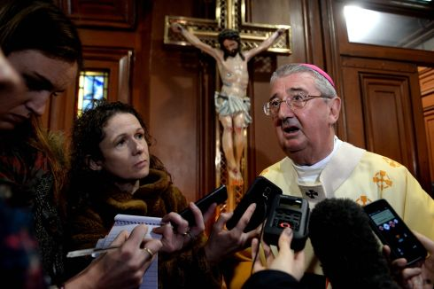 Archbishop Diarmuid Martin speaks to reporters about events in Paris after the Pro-Cathedral Mass.  Photograph: Cyril Byrne: The Irish Times