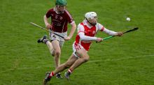 Darragh O'Connell of Cuala with Jack Langton of Clara during their Leinster semi-final. Photograph: Donall Farmer/Inpho