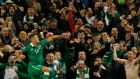 The Republic of Ireland's Jon  Walters celebrates scoring his penalty. Photo: Cathal McNaughton/Reuters