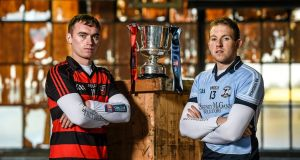 Ballygunner's Pauric Mahony with Na Piarsaigh's Shane Dowling ahead of the Munster senior hurling club championship final. Photograph: Stephen McCarthy/Sportsfile