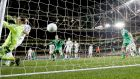 Bosnia's Asmir Begovic is unable to prevent Jonathan Walters scoring Ireland's second goal. Photo: Donall Farmer/Inpho