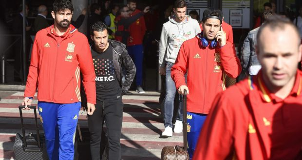 The Spanish team returned from Brussels after their international friendly soccer match against Belgium was cancelled due to the terrorist attack alert level. Photograph: EPA