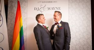 David James 'DJ' O'Hanlon and Wayne Gough became one of Irelands first gay couples to marry. Photograph: James Connolly