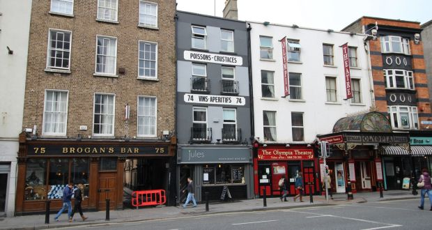 Jules, beside the Olympia Theatre: the building has an overall floor area of 317.47 sq m (3,412 s q ft) with restaurant seating on ground and mezzanine level and residential accommodation on the three upper floors