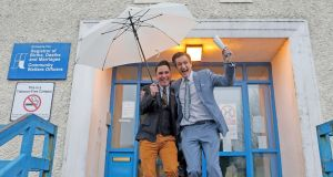 Celebrations: The pair leave the South Clonmel Community Care Centre in Co Tipperary after getting married. Photograph: Reuters/Cathal McNaughton