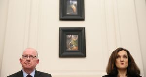 Northern Ireland Secretary Theresa Villiers and  Minister for Foreign Affairs Charlie Flanagan  at Stormont House in Belfast. Photograph: Brian Lawless/PA Wire
