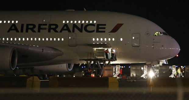 Two air france flights bound for paris from the us are diverted air france airbus 380 flight 65 sits on the runway at the salt lake sciox Image collections