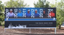 A sign showing previous winners of the Race To Dubai before the start of play at Jumeirah Golf Estates, Dubai. Photograph: Andrew Redington/Getty Images