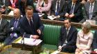 David Cameron: The prime minister's hopes of winning a Commons majority for his new war were enhanced yesterday by Labour's growing disarray over defence. Photograph: PA Wire