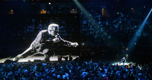U2 on stage at the SSE Arena in Belfast. Photograph: Eric Luke/The Irish Times