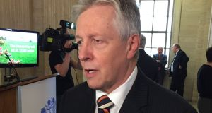Peter Robinson speaking to the media in Parliament Buildings, Stormont, Belfast. Mr Robinson has announced his decision to step down shortly after a deal was reached in Northern Ireland. Photograph: PA