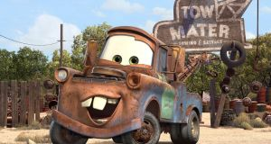 Mater, a comedic rusty tow-truck, joyously utters the offending tornado phrase in Cars, the children's box office smash hit from 2006