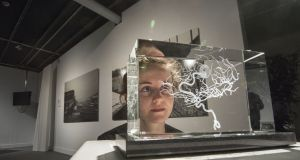 Jennifer Lorigan, mediator at the Science Gallery in Dublin, with a display by artist Katharine Dowson titled Memory of a Brain Malformation. Photograph: Brenda Fitzsimons/The Irish Times