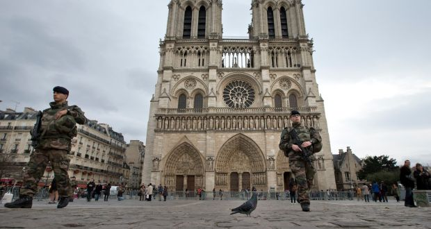 French Soldiers Patrol Near Notre Dame Cathedral In Paris Dozens Of Armed Outnumber The