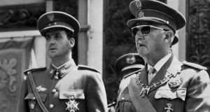 The then prince Juan Carlos of Spain and General Francisco Franco pictured in Madrid in the final days of the Franco dictatorship. Photograph: AFP/Getty Images