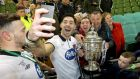 Richie Towell celebrates Dundalk's victory in  the FAI Cup final over Cork City. Photograph: Ryan Byrne/Inpho