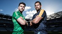 Ireland captain Bernard Brogan with his Australia counterpart  Luke Hodge ahead of the International Rules Test at Croke Park. Photograph: Dan Sheridan/Inpho