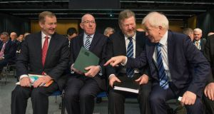 Taoiseach Enda Kenny, Charlie Flanagan, James Reilly  and Jimmy Deenihan in Dublin Castle yesterday. Photograph: Brenda Fitzsimons/The Irish Times