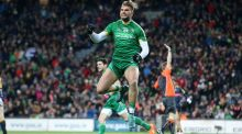 Ireland's Aidan O'Shea celebrates after scoring a first-half goal in the International Rules game against Australia at Croke Park. Photograph:  Cathal Noonan/Inpho
