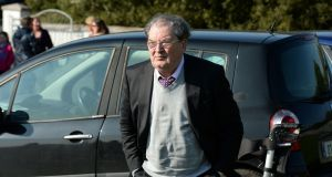 John Hume at the burial ceremony of Brian Friel, at Glenties Cemetry, Co. Donegal in October 2015. Photograph: Dara Mac Dónaill / The Irish Times