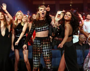 "Taylor Swift, centre, worked with Shellback and Max Martin for 18 months on her album ""1989""."