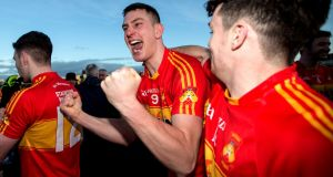 Castlebar's Barry Moran celebrates victory in the Connacht final Photograph: James Crombie/Inpho