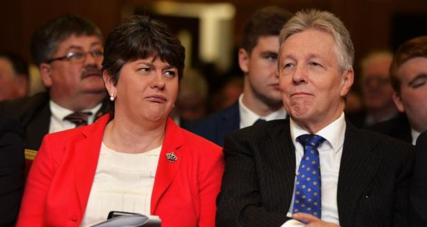 Arlene Foster with Peter Robinson at the DUP conference, where her speech received a prolonged