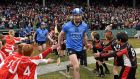 Dublin's Liam Rushe leads his team out for the start of the game against Galway at  Fenway Park, Boston. Photograph: Ray McManus/Sportsfile.