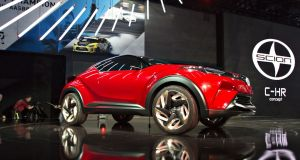 The Toyota Scion C-HR concept crossover vehicle is displayed during the Los Angeles Auto Show. Photograph: Daniel Acker/Bloomberg