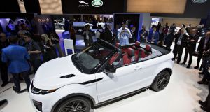 The  Range Rover Evoque convertible SUV is displayed during the Los Angeles Auto Show. Photograph: Daniel Acker/Bloomberg