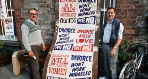 Campaigners against a divorce referendum canvassing their views in  June 1986,  Navan, Co Meath. File photograph: Derek Speirs